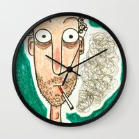 smoking Wall Clocks featuring SMOKING by t i t i l l a