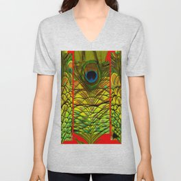 ART DECO RED GOLDEN-GREEN PEACOCK  PATTERN Unisex V-Neck