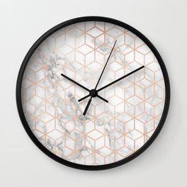 Marble & Rose Gold Squares Wall Clock