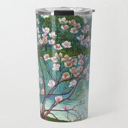 Springtime Pink Magnolias by the Kettle Pond landscape by Wilhelm List Travel Mug