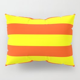 Bright Neon Orange and Yellow Horizontal Cabana Tent Stripes Pillow Sham
