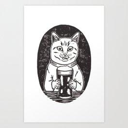 Thirsty Cat Art Print