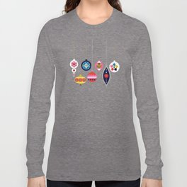 Retro Christmas Baubles on a dark background Long Sleeve T-shirt