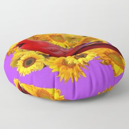 RED CARDINAL & YELLOW SUNFLOWERS PANTENE PURPLE Floor Pillow