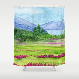 Glacier and Fireweed Shower Curtain