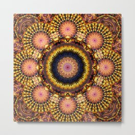 Golden Star Burst Mandala Metal Print
