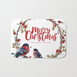 Merry Christmas Typography with Bullfinch and Christmas wreath Bath Mat