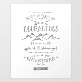 Joshua 1:9 (Gray) Art Print