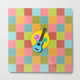 Fun colorful Ukuele and music notes Metal Print