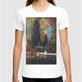Garden with a Fountain by Thomas Mostyn T-shirt