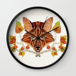 fox autumn Wall Clock
