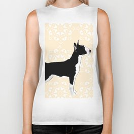 English Bull Terrier Dog in black Biker Tank