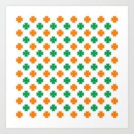 Saint Patrick Irish Flag Clove Seamless Pattern Art Print