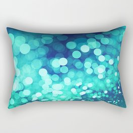 Aqua Blue Glitter Wave Rectangular Pillow