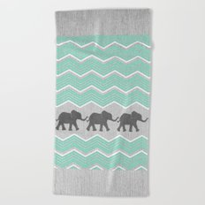 Three Elephants - Teal and White Chevron on Grey Beach Towel