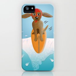 Surf Dog on Top of the Wave iPhone Case