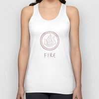 the last airbender Tank Tops featuring Avatar Last Airbender Elements - Fire by bdubzgear