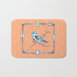 Sparrow Mahjong in Orange Bath Mat