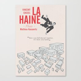 La Haine (Hate) Vincent Cassel, Mathieu Kassovitz, alternative movie poster, banlieue french film Canvas Print