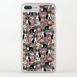 Boston Terrier floral dog breed pet art must have boston terriers gifts Clear iPhone Case