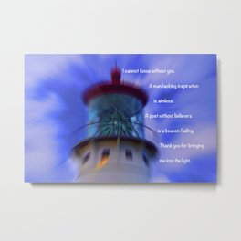 """Kauai Lighthouse #1"" Photo with poem: Traveling Together #5 Metal Print"