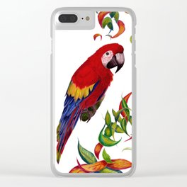 red parrot with rainbow leaves Clear iPhone Case