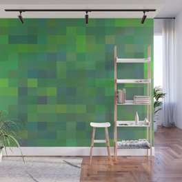 geometric square pixel pattern abstract in green and blue Wall Mural