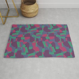 Retro-Inspired Geometric Pattern in Desaturated Jewel Tones Rug