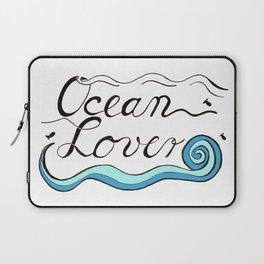 Ocean Lover Brush Script Design Laptop Sleeve
