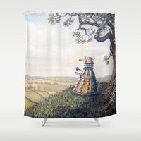 dalek Shower Curtains featuring A rather Dalek afternoon by skot olsen