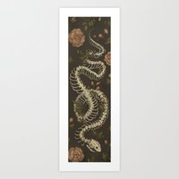 skeleton Art Prints featuring Snake Skeleton by Jessica Roux