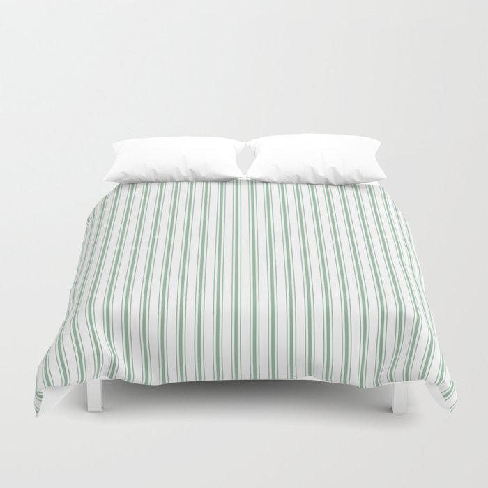 Mattress Ticking Narrow Striped Pattern in Moss Green and White Bettbezug