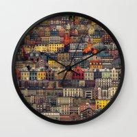 copenhagen Wall Clocks featuring Copenhagen Facades by Siddharth Dasari