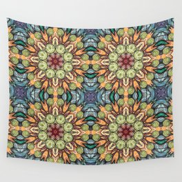 abstract red star hand drawn and kaleidoscope mandala Wall Tapestry