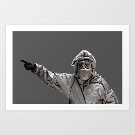 Protection Suit And Gas Mask Art Print