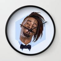 danny ivan Wall Clocks featuring Danny Brown by LinnMaria_ink