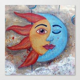 Soluna, Sun and Moon Mixed media Painting Canvas Print