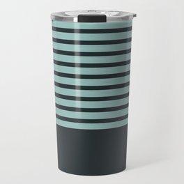 Navy stripes on turquoise Travel Mug