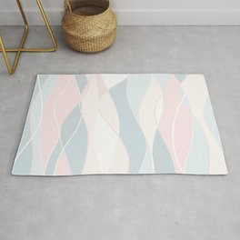 Pastel Waves // Beach Surf Light Colors Peach Blush Aqua Ocean Tides Vintage Surfing Vibes Rug