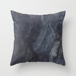 Navy Blue Marble Throw Pillow