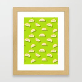 Slices of Orange - Pattern on Lime green Framed Art Print