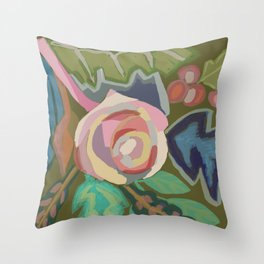 Organic abstract floral Throw Pillow