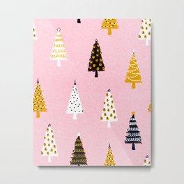 Christmas Trees Modern Pink Pattern #pinkchristmas #christmaspattern Metal Print