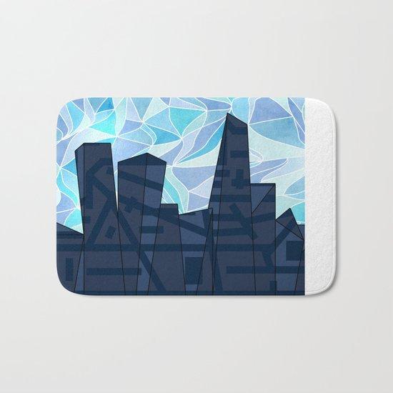 Barruf's Skyline In Blue Bath Mat