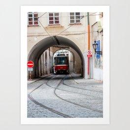 Tramway in old town of Prague Art Print