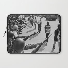 U.S. National Guard troops block Beale Street as African American civil rights marchers wear 'I am a man' placards  Laptop Sleeve
