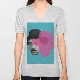 Fernando Pessoa Portrait - pink and blue Unisex V-Neck