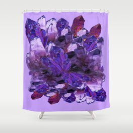 FEBRUARY PURPLE AMETHYST CRYSTAL CLUSTER GEMS Shower Curtain