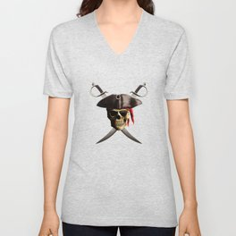 Pirate Skull And Swords Unisex V-Neck