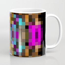 geometric square pixel abstract in blue orange pink with black background Coffee Mug